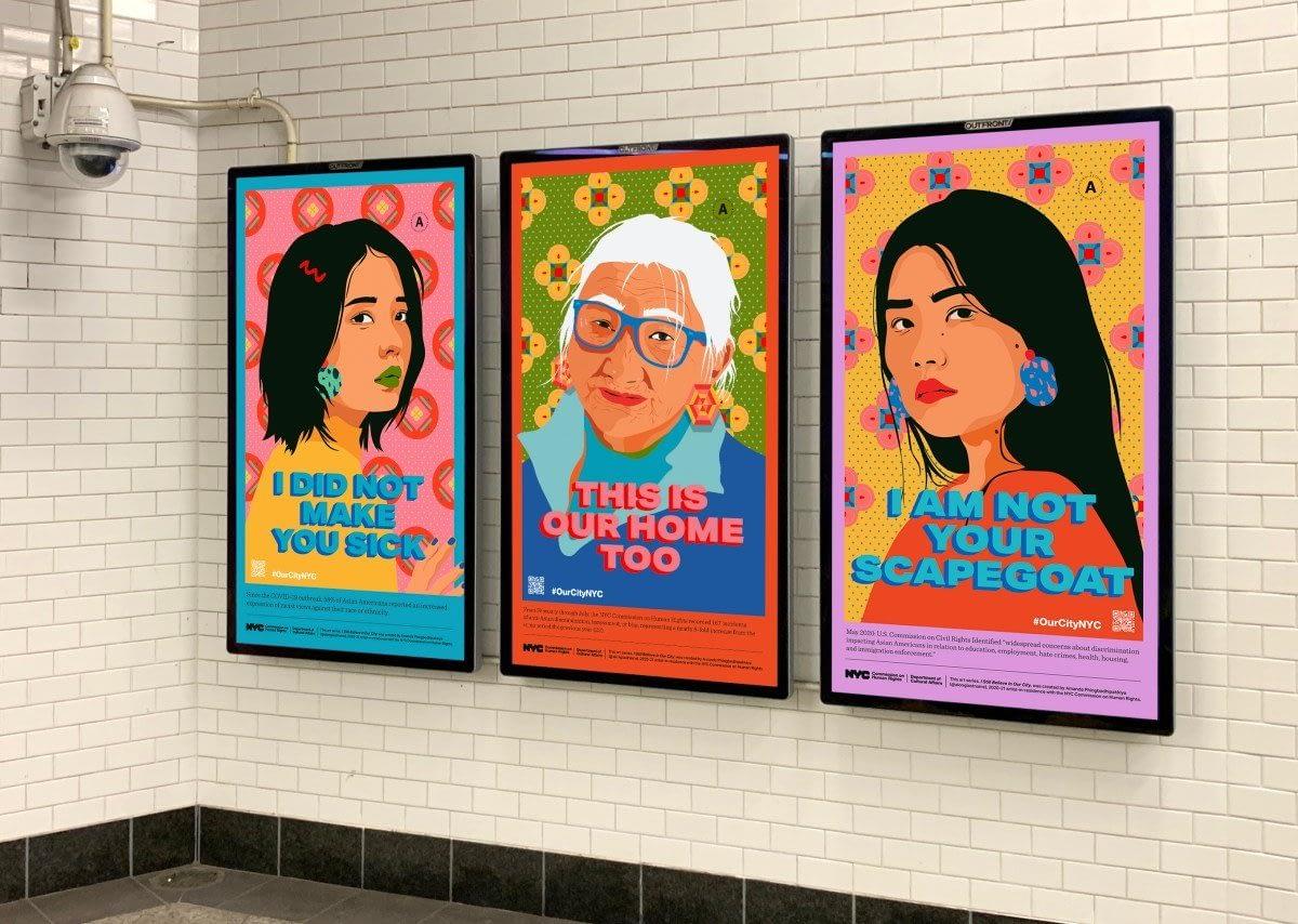 Amanda Phingbodhipakkiya's artwork in the NY subway
