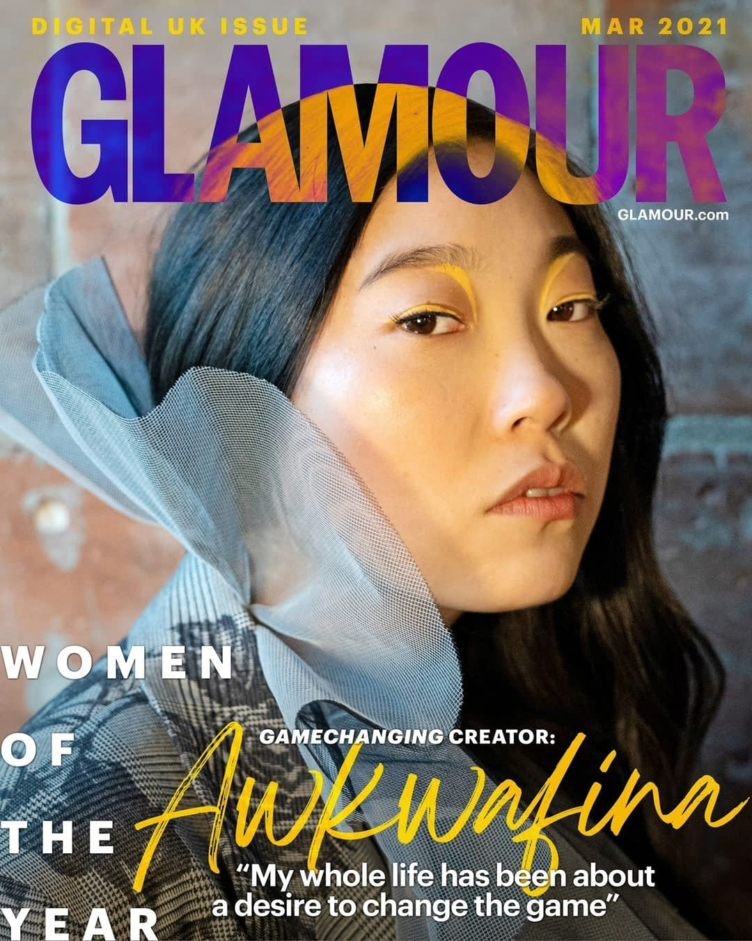 Awkwafina's March 2021 cover for Glamour Magazine UK