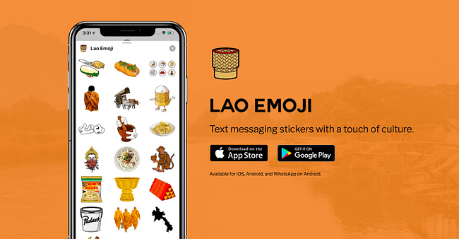 Lao Emoji app iphone mockup