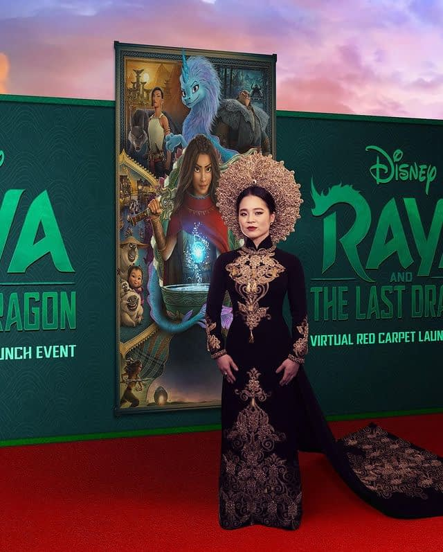 Kelly Marie Tran in traditional Ao Dai dress on virtual red carpet