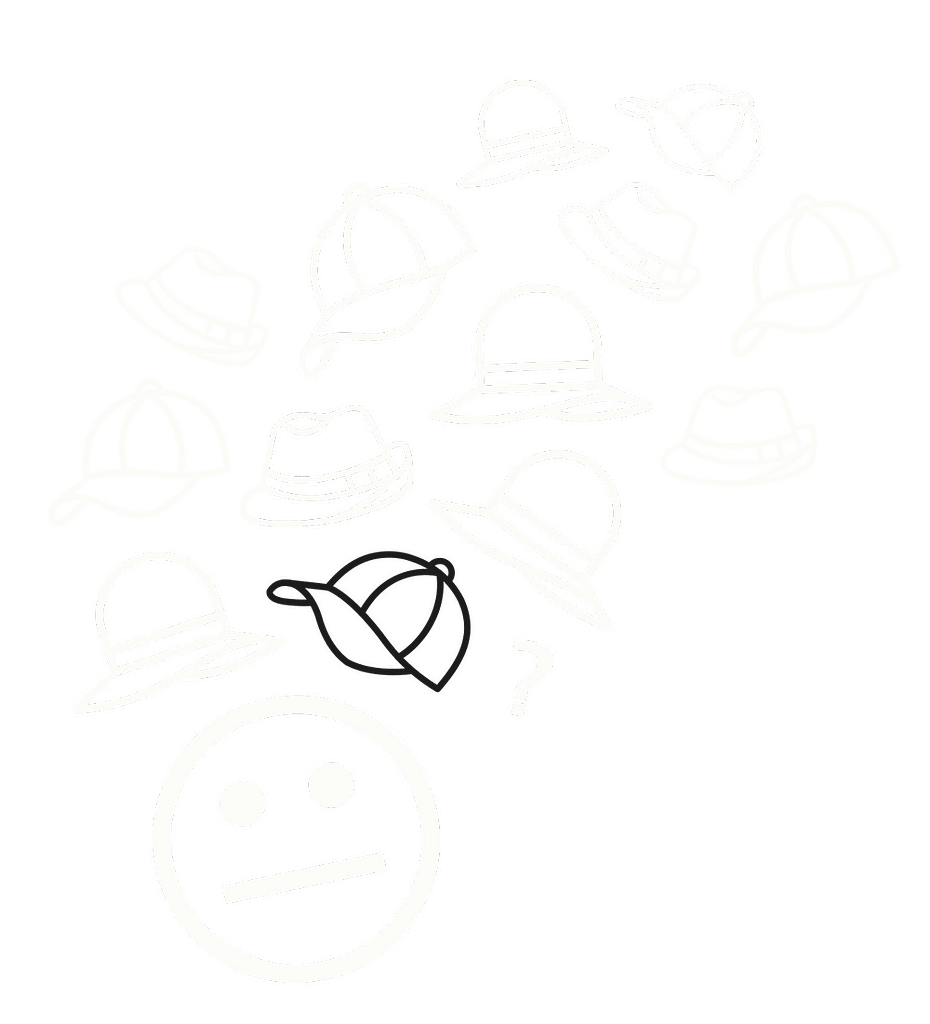 KITS Creativ neutral emoji face surrounded by several hat illustrations resembling an overwhelmed business owner wearing too many hats