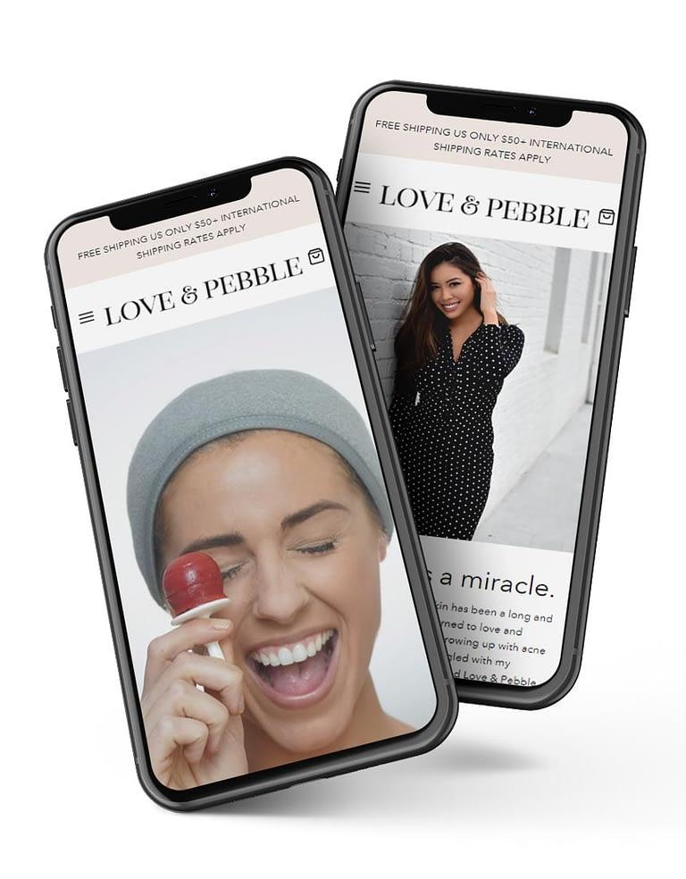 Love & Pebble website mockup on iPhone