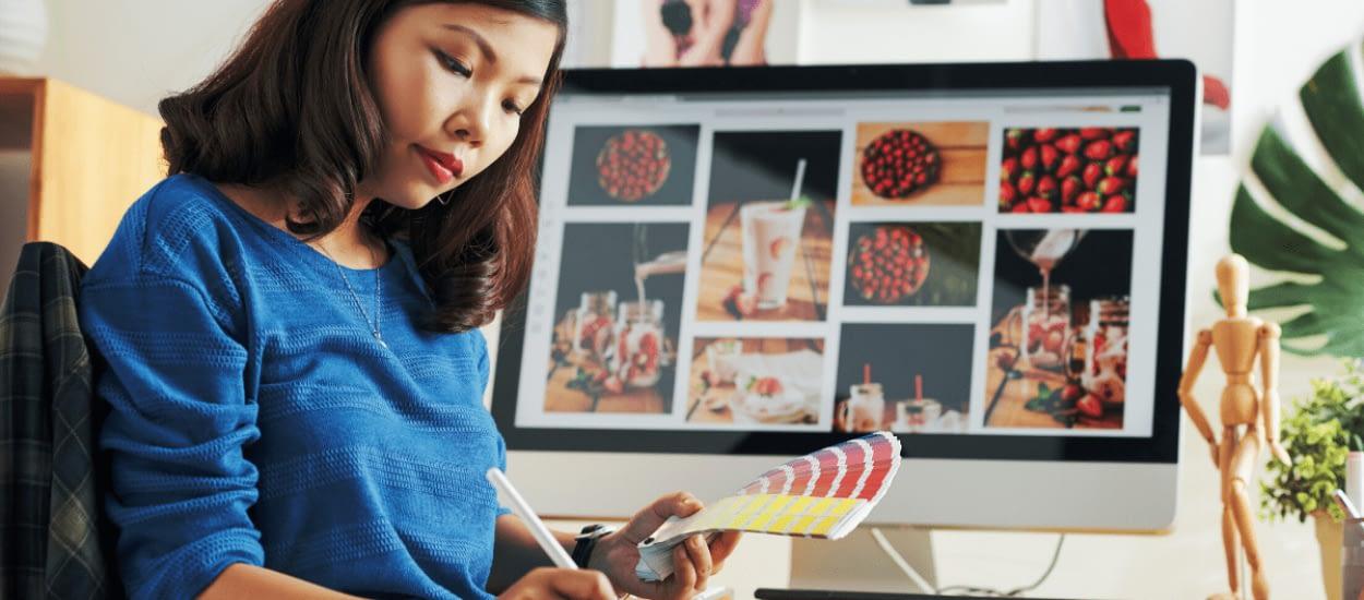 Designer working with color palette