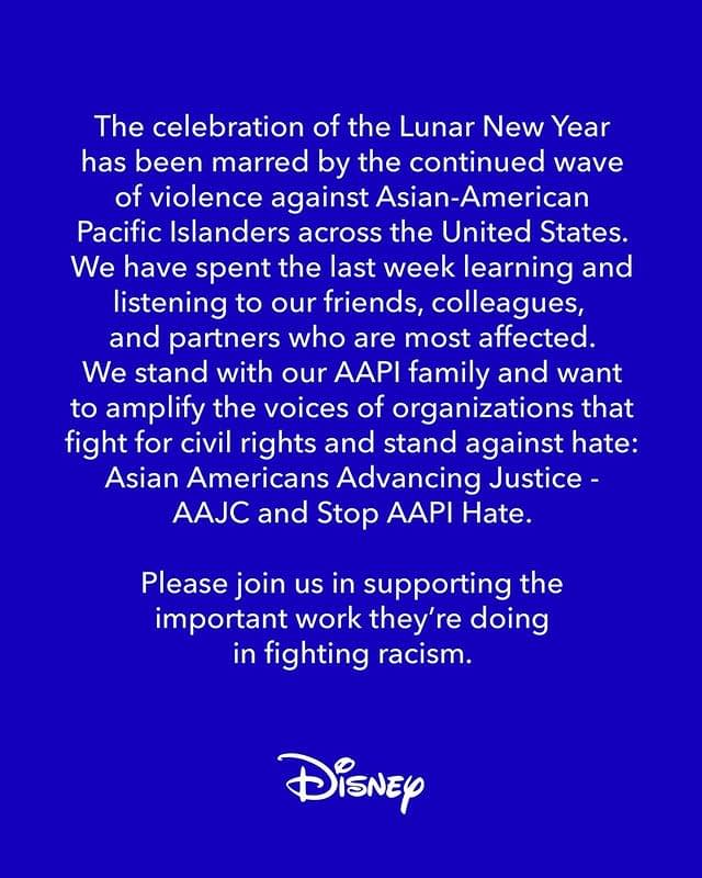 Disney Instagram post on condemning violence against the AAPI community