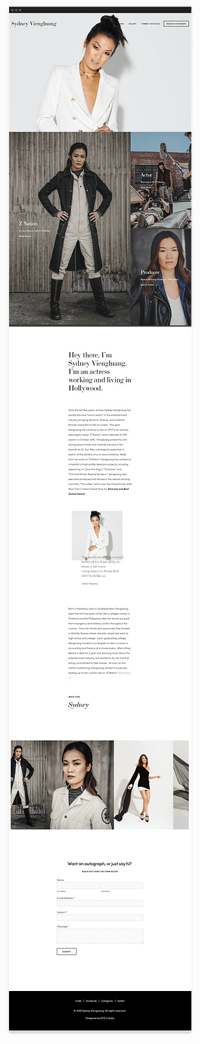 Southeast Asian American actress Sydney Viengluang's website mockup