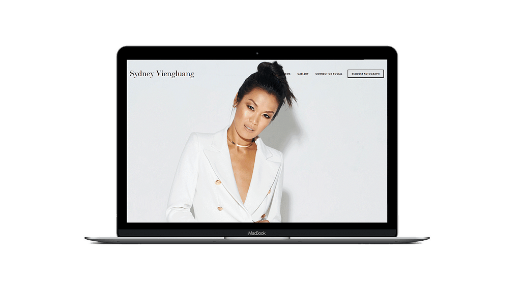 Southeast Asian American actress Sydney Viengluang's website mockup on macbook