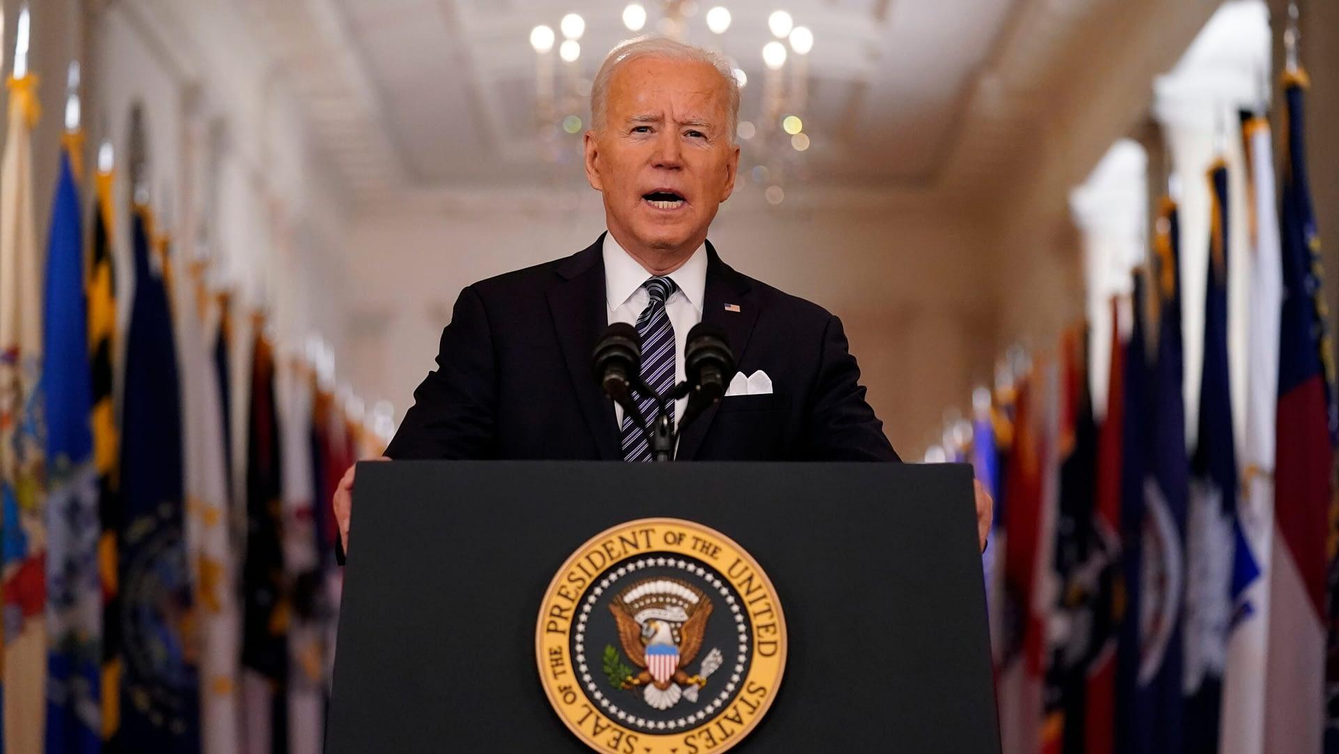 Joe Biden giving his first national primetime address