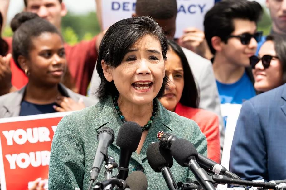 Senator Judy Chu speaking at a rally
