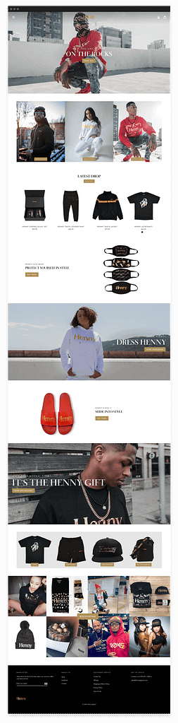 Henny Apparel website landing page mockup