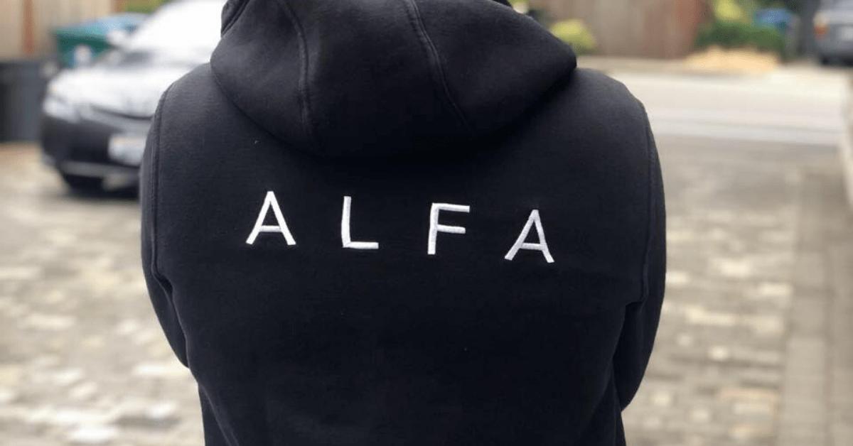 Quyen Phan wearing an Alfa app hoodie