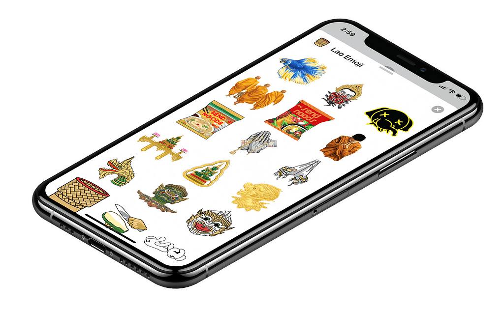 Mobile view of Lao Emoji app